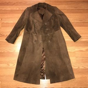Espresso brown Suede Double-breasted trenchcoat S